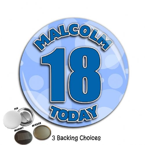Large 75mm Personalised Blue Circles Happy Birthday Badge N56 (Pin / Magnet / Mirror Backing)